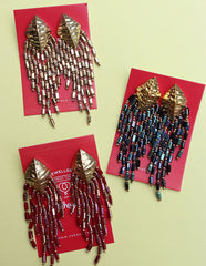 Beaded Shiny Dangler Earrings