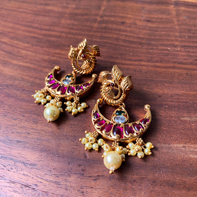 Peacock Chaand Matte Earrings