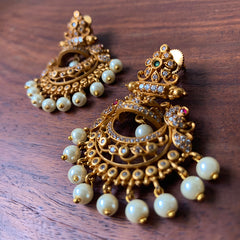 AD Matte Half Jhumka Chaand Earrings