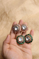 Mirror Moon Flower Studs