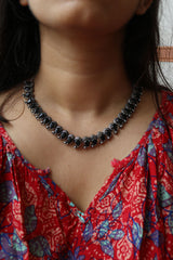 Oxidised Paisley Necklace with Earrings