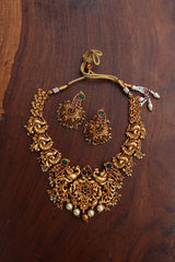 Matte Peacock Flower Short Necklace with Jhumkas