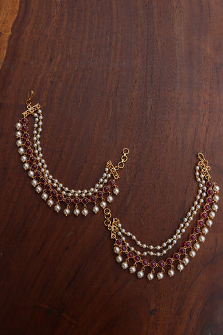 Circles White Pearls Ear Chain