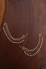 Circles White Pearls Ear Chaini