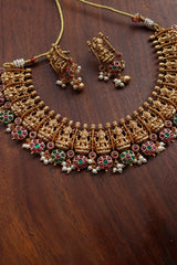 Matte Lakshmi Flowers Necklace Set