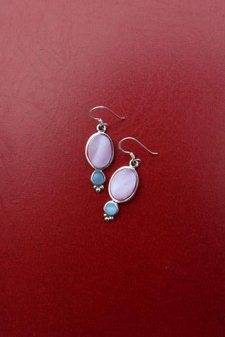 92.5 Silver Pink Oval Drops