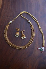 Delicate Matte Peacock Choker with Jhumkas