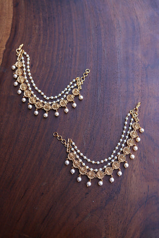 Lakshmi Circles Pearl Ear Chain