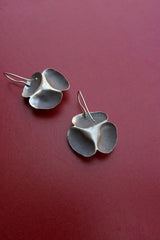 92.5 Silver Big Rose Hook Earrings