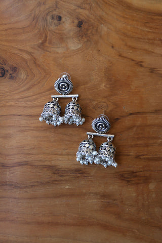 Oxidised Dual Jhumka Earrings