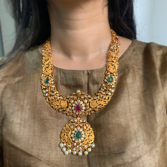 Matte Peacock Mid Length Cutwork Necklace