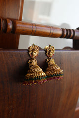Lakshmi Peacock Beaded Jhumkas