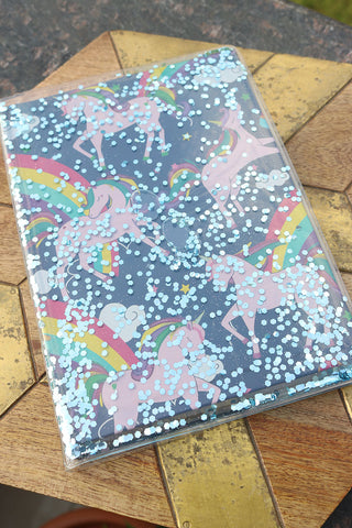 Navy Blue Unicorn liquid Glitter Notebook