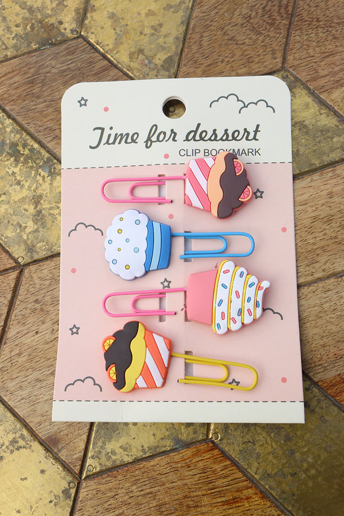 Pink Cupcake set of 4 Bookmarks/ Paperclips