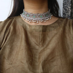 AD Pearls Rectangle Choker Necklace