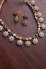 Matte Navratna Flower Short Necklace