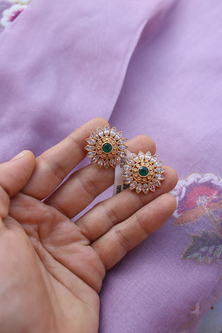92.5 Silver Green Sunflower Studs