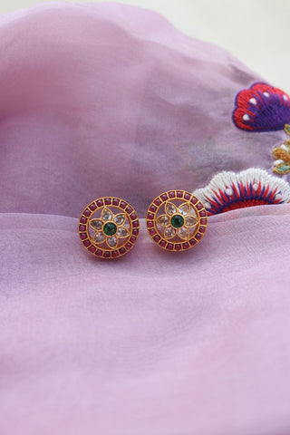 92.5 Silver Round Ruby Green Studs