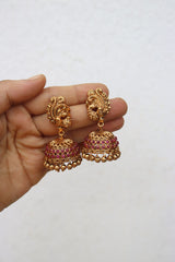 Matte Ruby 3 Line Set with Jhumkas