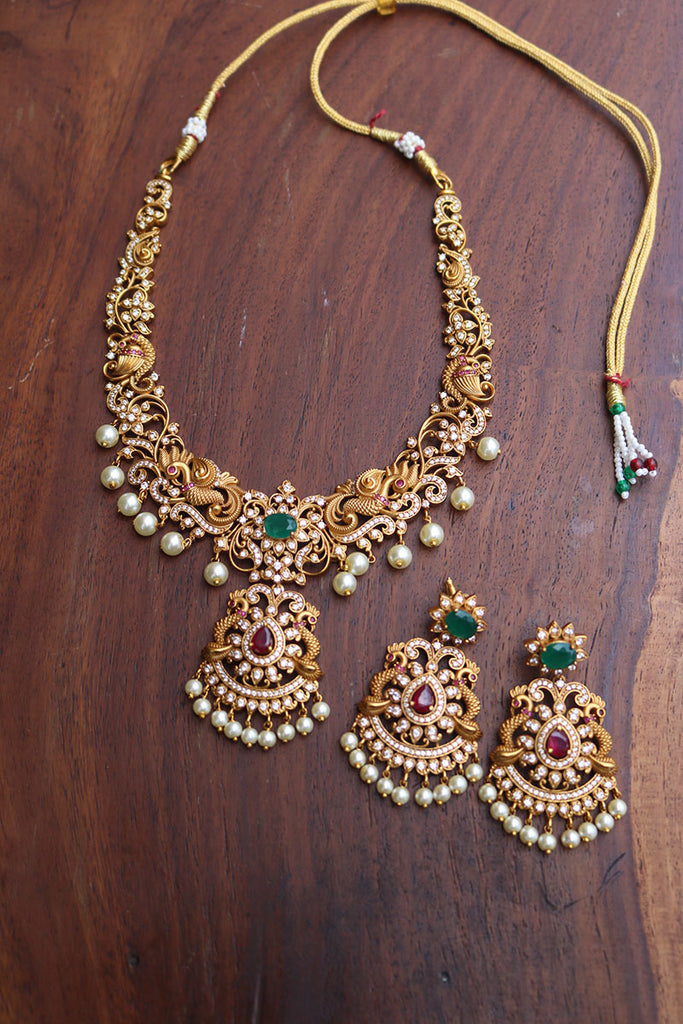 Matte AD Peacock Intricate Short Necklace set