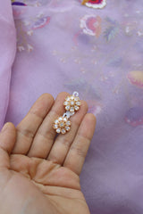 92.5 Silver Basic White Flower Studs