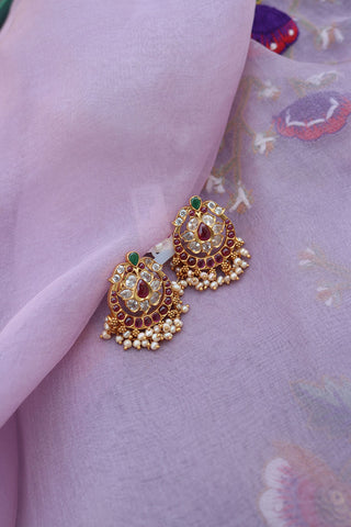 92.5 Silver Lotus Chaand Earrings