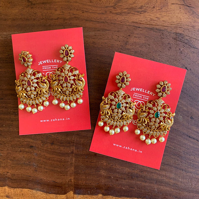Matte AD Peacock Festive Earrings