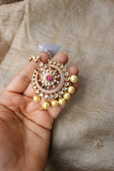 Hint of Rose gold Ruby Kundan Teeka