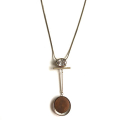 Crystal Wood Pendant Long Chain