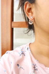 AD Leaf Droplet Up-Down Earrings