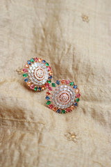 AD Tear Drop Rosegold Round Studs