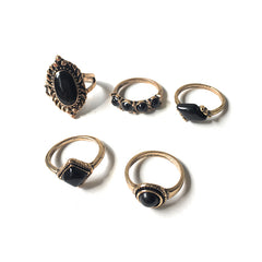 Set of 5 Black Antique Rings