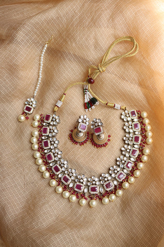 Ruby Gunmetal Kundan Set with Teeka
