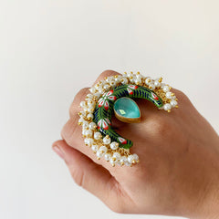 Chaand Cluster Pearl Statement Ring