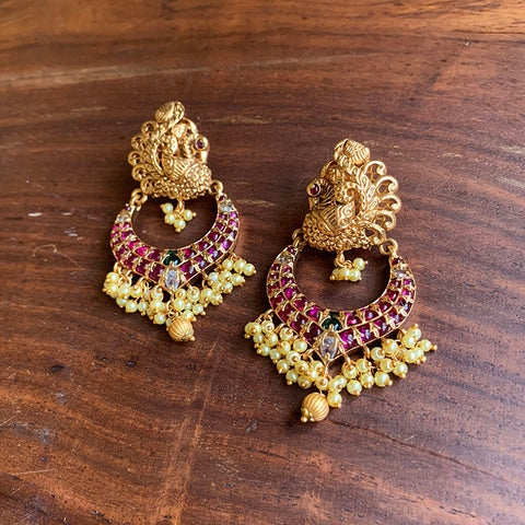 Matte Peacock Ruby Chaandbali Earrings
