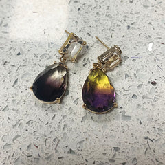 Little Stone Dual Color Drop Earrings
