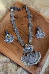 Oxidised Two tone rustic necklace with Chaandbalis