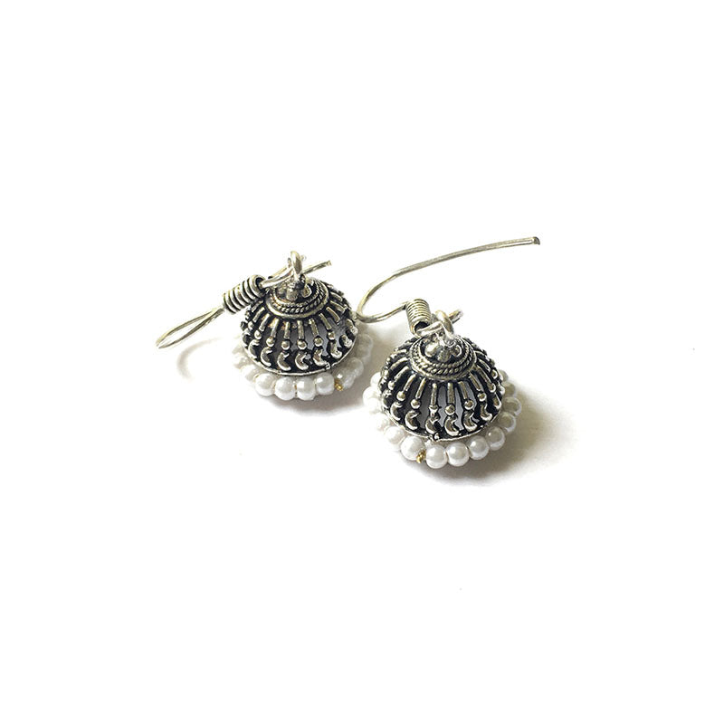 Little Silver Pearl Jhumkas