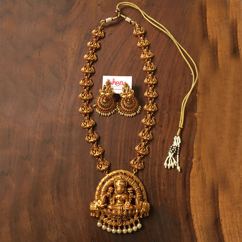 Big Lakshmi Pendant Matte Necklace
