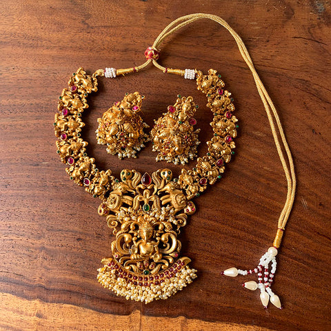 Ganesha Matte Short Necklace with Jhumkas
