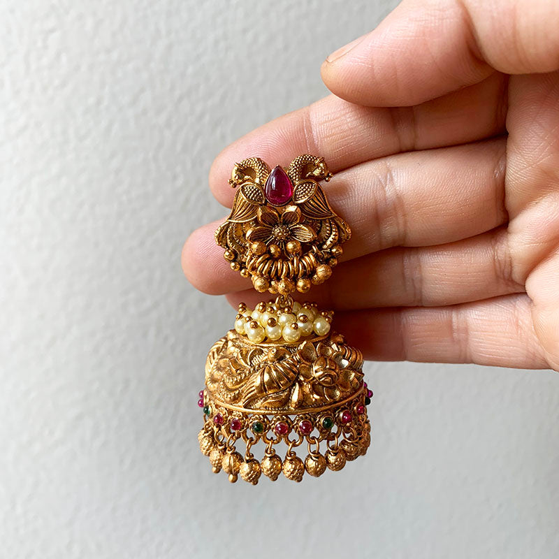Bird Flower Pearl Jhumkas