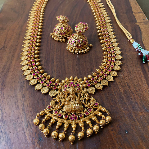 Mid Length Lakshmi Coin Necklace with Jhumkas