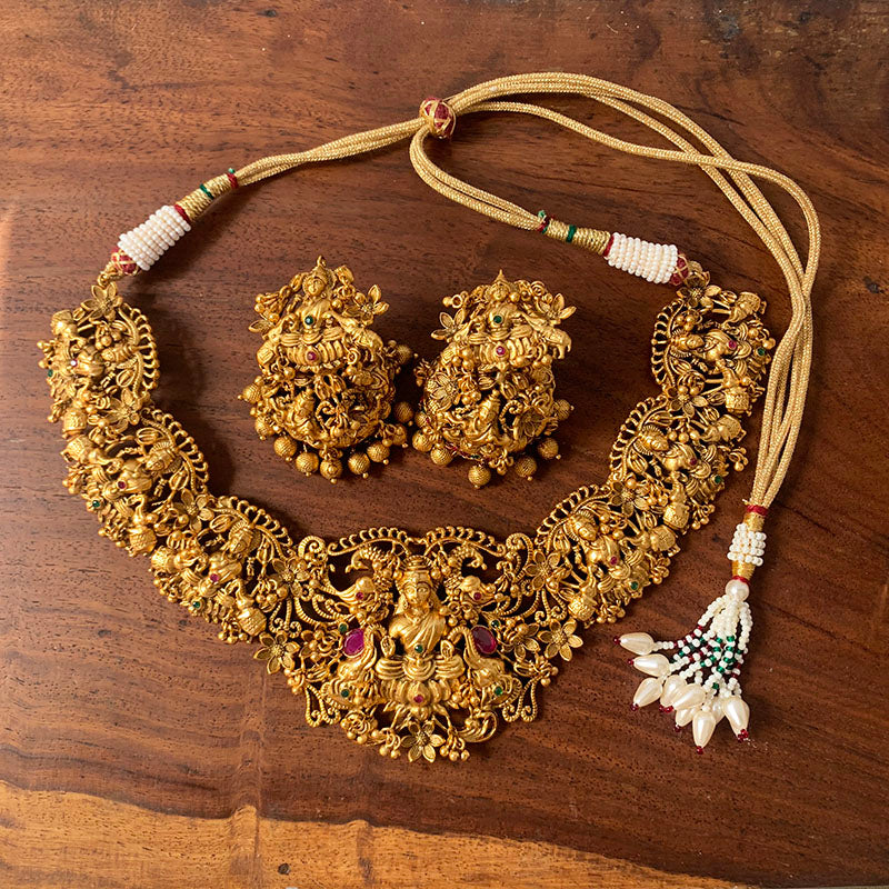 Intricate Lakshmi Choker Necklace with Jhumkas