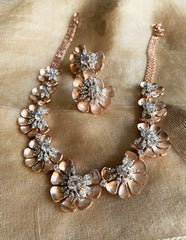 Rose gold Silver Half Flower Necklace