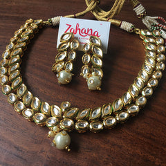 Kundan Two Line Leaf Set