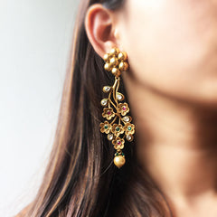 Flower Kundan Long Earrings