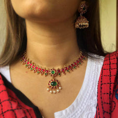 Ruby Green Choker Set with Teeka