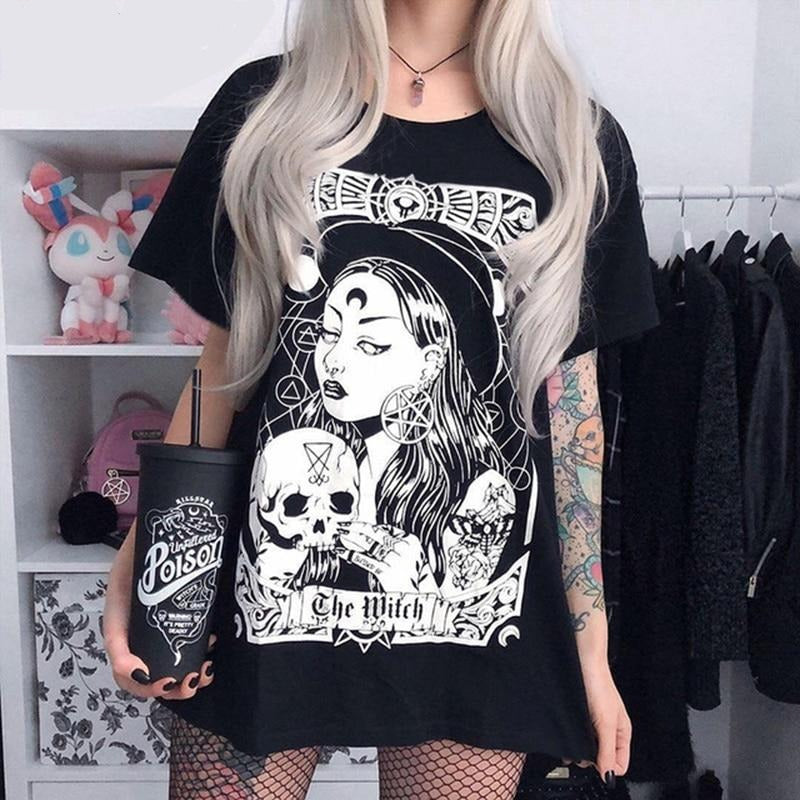 T-shirt femme gothique noir The Witch
