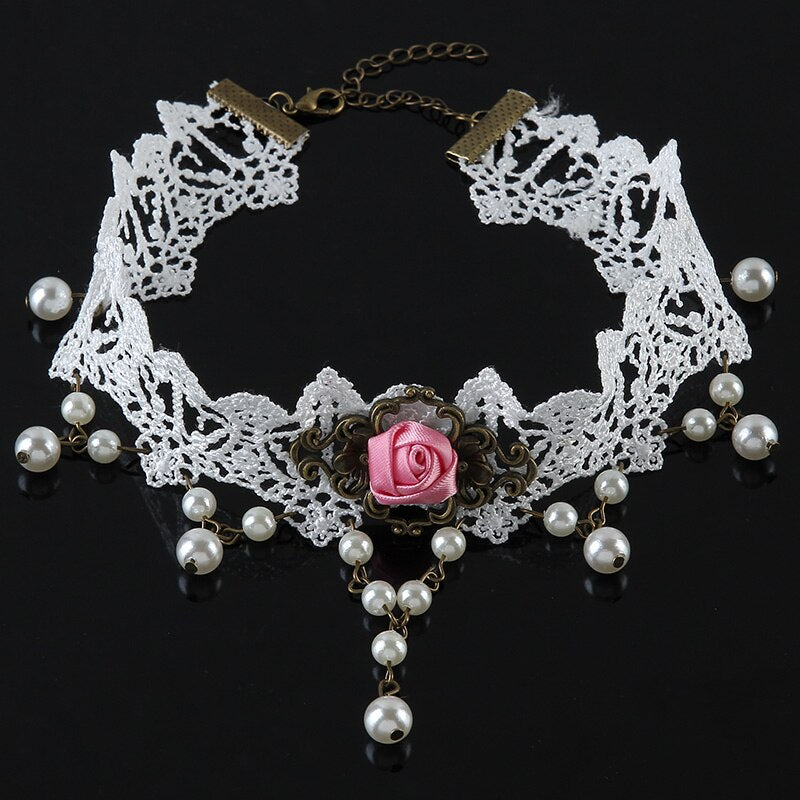 Collier tour de cou - chockers gothique victorien Rose perle