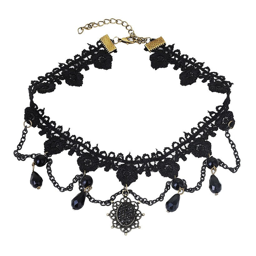 Collier tour de cou - Chokers victorien Crystal Black